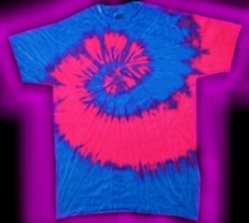 two-color - neon blue and neon pink - tie-dye T-shirt
