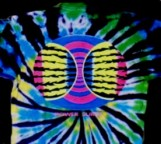 Power Surge imprinted image with fluorescent / neon ink on a tie-dye T-shirt
