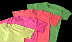 four, plain, neon T-shirts in assorted colors