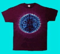 Blue Circle tie-dye T-shirt, burgandy